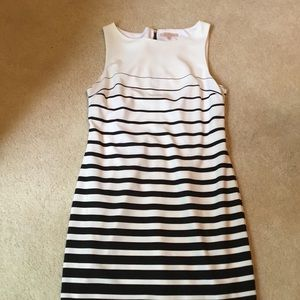 Women's black and cream striped dress
